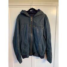 Ugg Australia Slate Blue Lamb Leather Hooded Jacket Large L EUC