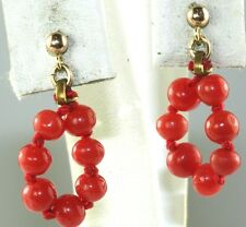 ANTIQUE 14K GOLD CORAL BEAD DANGLING HOOP EARRINGS