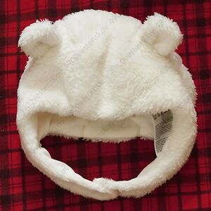 Gap Baby Girl Boy Unisex 3D bear ears white sherpa jersey lined trapper hat