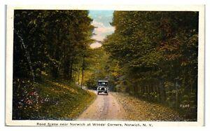 Road Scene near Norwich at Woods Corners, Norwich, NY Postcard *336