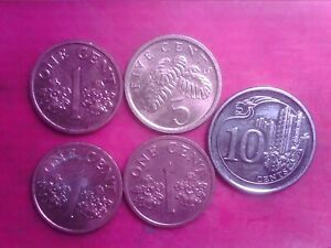 SINGAPORE   1  CENT   1994  1995  2000  5 CENTS   1989  10  CENTS   2013   MAY05