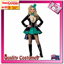 Womens Mad Hatter Alice in Wonderland Green Black Tea Party Fairy Tale Costume M