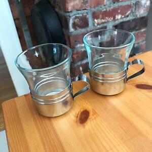 Set of 2 - Vintage Glass Cafe Restaurant Tea Cups Belgium Inox & Duralex France