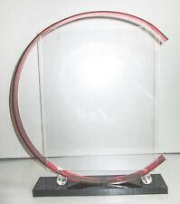 "Art Deco moderne Lucite Plexi-glass photo frame 3-1/2"" x 5"" red + black"