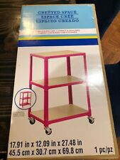 Michaels 3 Tier Rolling Cart Created Space Sturdy Sealed In Box Pink NEW