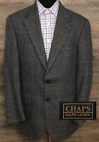CHAPS Ralph Lauren Men's Silk Wool Blue Houndstooth Blazer Sport Coat Jacket 40R