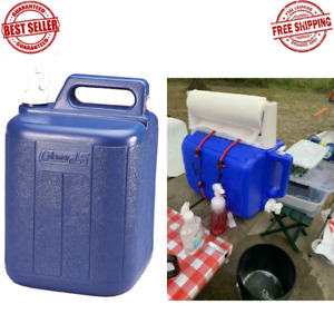 5 Gallon Water Carrier Jug Coleman Fishing Plastic Container Camping Hiking Blue