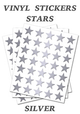 50 Silver   Stars Stickers - Self Adhesive Vinyl Labels size 50mm each