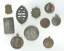 Beautiful lot of 10 Art Deco & Art Nouveau Medals from Uruguay sports religious