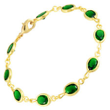 Oval Zirconia Green Emerald Tennis Bracelet Melina Wedding 18K Yellow Gold Gp