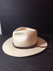 Rare White Indiana Jones Straw Rope W/ Leather Strap Fedora Hat Medium