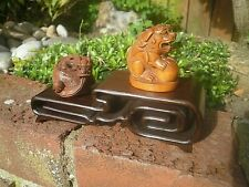 2 Tier Carved iron wood stand for netsuke , snuff boxes , small collectables  .4