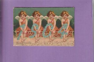 CPA GAUFREE PETITS ANGELOTS VOUS PRESENTENT L'ANNEE 1904 EN MYOSOTIS
