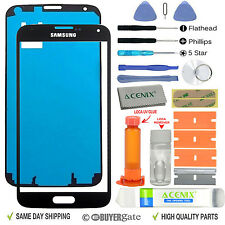 SAMSUNG GALAXY S5 Replacement Screen Front Glass lens Repair Kit Black + UV Glue