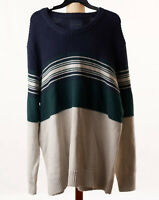 American Eagle Outfitters Mens Blue Crew Neck Color Block Pullover Sweater XXL
