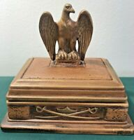 "Antique  Rectangular Ceramic Box With Eagle - Jewelry Box - 5"" T X 5.25"" W X 4""D"