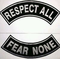 "Respect All Fear None  Patch Rockers set Biker Motorcycle Vest Jacket size 11"""