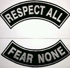 Respect All Fear None  Patch Rockers set Biker Motorcycle Vest Jacket size 11""