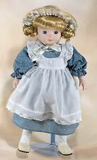 """Collector's Porcelain Doll 13.5"""" Blond Hair Blue Eyes With Stand"""