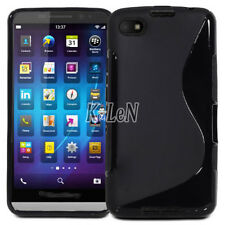 Black S-Line Wave Soft Gel TPU Silicone Case Cover Skin For BlackBerry Z30 A10