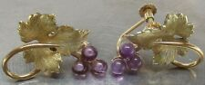 Vintage KREMENTZ Gold-Vermeil Genuine AMETHYST Floral Leaf Earrings ~ BEAUTIFUL!