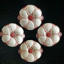 4 assiettes à huîtres rouges anciennes faïence Sarreguemines Majolica 1900