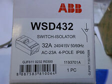 ABB - SWITCH ISOLATOR - 4 Pole 32amp  -  IP66 - WSD432 - Qty avail 240/415 50/60