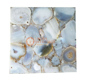 Square Agate Stone Table ,Gray Agate Square Table Top, Square Agate Table, Decor