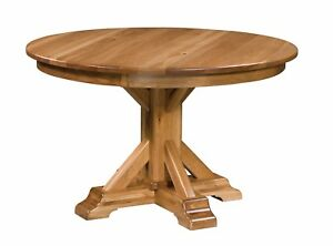 Amish Rustic Round Pedestal Dining Table Extending Solid Wood