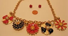 Necklace and Earrings Set Black Pink Flowers 3D Charm Pearls Gold Chain NWT L299
