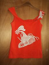 "NWOT DIESEL Orange stretchy ""Bardot"" cotton top with print to front size L"