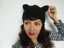 Bonnet grosse maille torsades hiver oreilles de chat original kawaii harajuku
