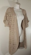 Size Small CHRISTOPHER & BANKS Cardigan Sweater Blouse Top Crochet Beige Shrug
