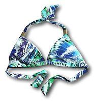 ELLE Womens Size S M L XL Blue Purple Gold Metal Triangle Halter Swim Bikini Top