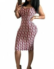 Fendi Print Ladies Sleeveless Bodycon Dress In Wine & Black Size Large