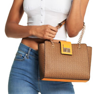 NWT GUESS MARIACARLA HANDBAG Mocha Logo Satchel Crossbody Shoulder Bag GENUINE