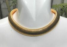 MONET Omega Goldtone Choker - Wide Chain Necklace Vintage Jewelry