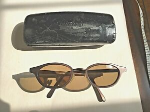 Vintage Calvin Klein Sunglasses: Taupe Frames with Brown Lenses & Case
