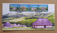 2016 FIJI TOURISM HUTS 4 STAMPS FIRST DAY COVER FDC
