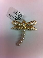 14K Yellow  Real Gold Dragonfly Brooch Pin With 5 Pearl & 1 Small Diamond Eye.