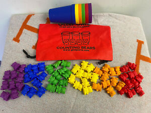 Rainbow Counting Bears With Matching Sorting Cups - FREE Storage Bag - STEM Edu.