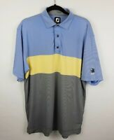 FootJoy FJ Men's Sz L Striped Golf Polo Shirt Embroidered Indian Logo on Sleeve