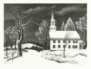 A fine Ernest Fiene original pencil signed lithograph, New Snow, AAA Label