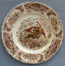 Johnson Brothers Woodland Wild Turkeys Brown Dinner Plate ENGLAND Mint