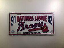 Atlanta Braves 1991 1992 National League Champions License Plate Car Tag New