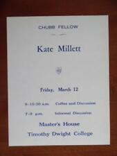 1971 KATE MILLETT Feminist Yale Chubb Fellow Lecture Poster Vintage Original