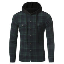2018 Mens Padded Hooded Casual Shirts Check Plaid Tops Work Shirt Jacket S - 3XL