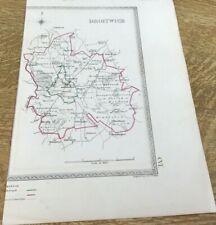 Antique Map Droitwich Showing Boundary Of Borough By S Lewis C 1835 Walker