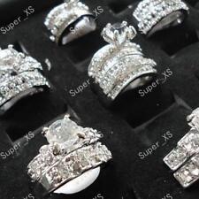 4pcs zircon rhinestone silver Plated rings wholesale jewelry lots free shipping