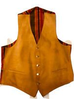 Classic Vintage Retro Men's 42 Camel Suede Leather Vest Striped Adjustable Back